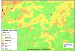 Location of Leitrim landslide on landslides susceptibility map
