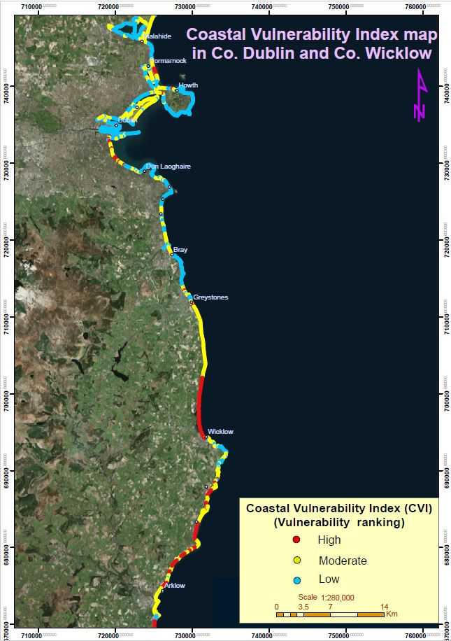 Coastal Vulnerability Index Map on pilot study from Portrane to Arklow