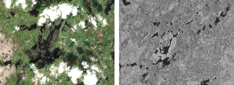 Comparison of Copernicus Sentinel-2 (left) and Sentinel-1 (right) imagery near Gort, Co. Galway in late March 2020