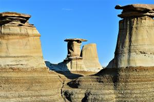 Overseas 2018 Winner Cecelia Gavigan, eroded sandstone pillars in Drumheller Badlands, Alberta, Canada.