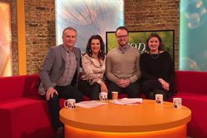 Left to right: Dáithi Ó Sé, Maura Derrane, Michael Waldon and Siobhán Power on the set of RTE Today Show